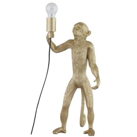 Chip The Monkey Standing Gold Table Lamp